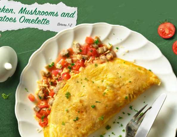 HKrecipe600Chicken Mushrooms and Tomatoes Omelette